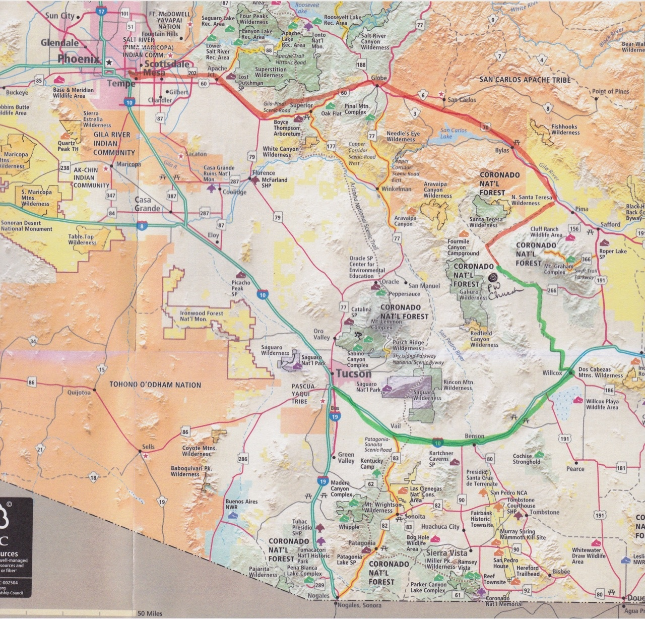 The Peyote Way Church Of God How To Find Us - Us Map With Arizona Highlighted