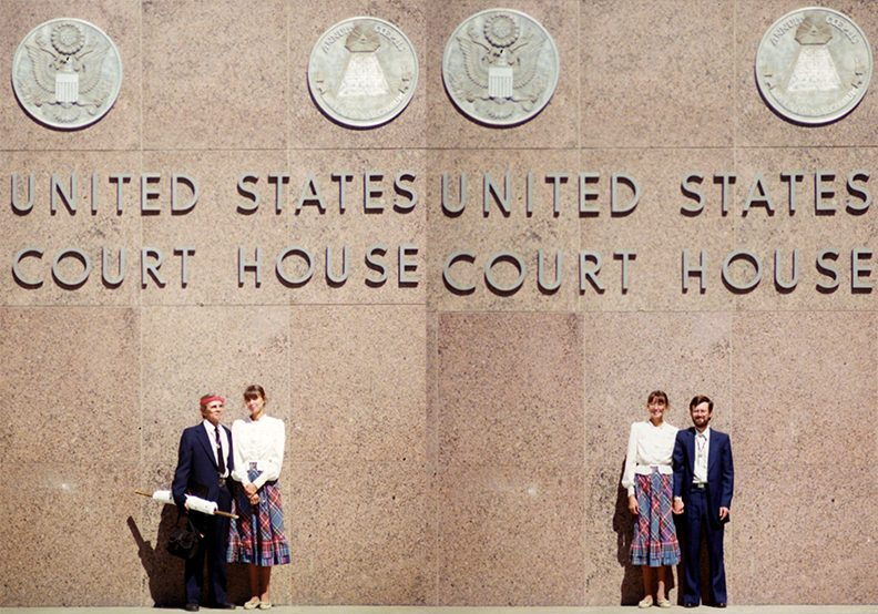 side by side photos in front of United States Court House: Immanuel Trujillo and Anne Zapf / Anne Zapf and Matthew Kent